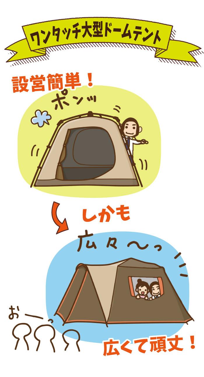 ワンタッチ大型ドームテントとは|設営簡単・広くて頑丈!