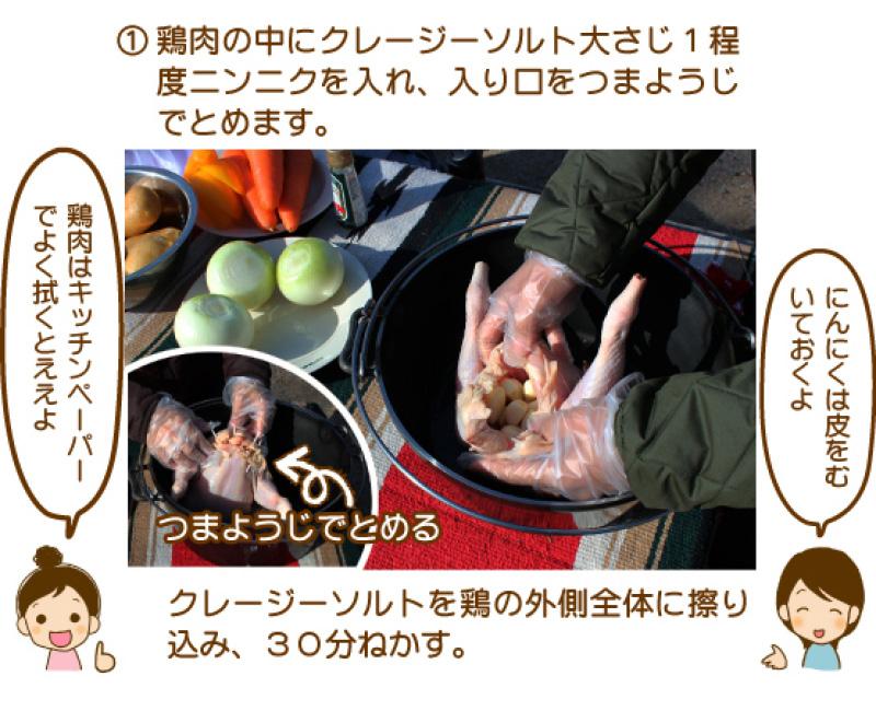 ①鶏肉の中にクレージーソルト大さじ1程度にんにくを入れ、入り口をつまようじでとめます。クレージーソルトを取りの外側全体に擦り込み、30分ねかす。