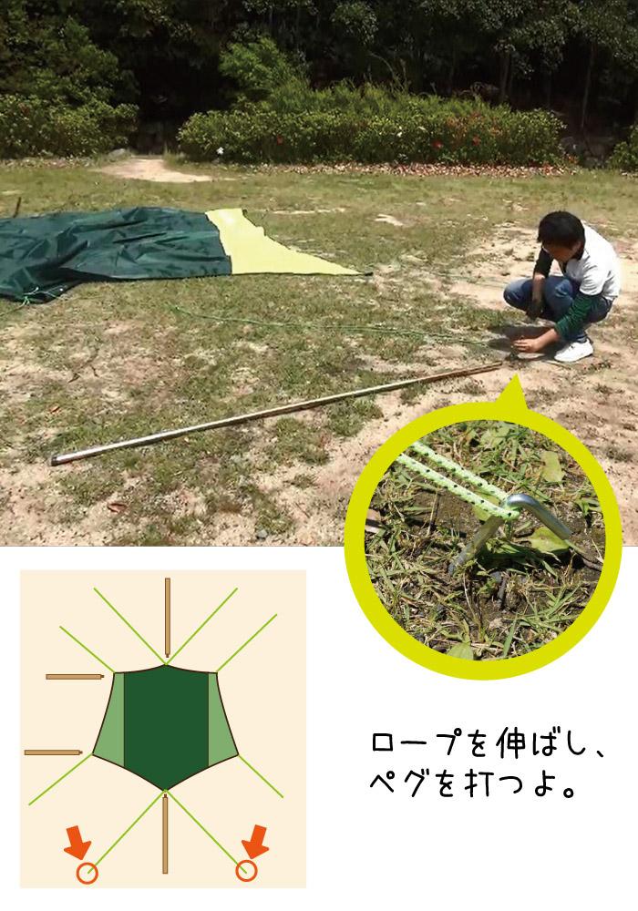 ⑤ペグを打ロープを固定する|ロープを伸ばし、ペグを打つよ。