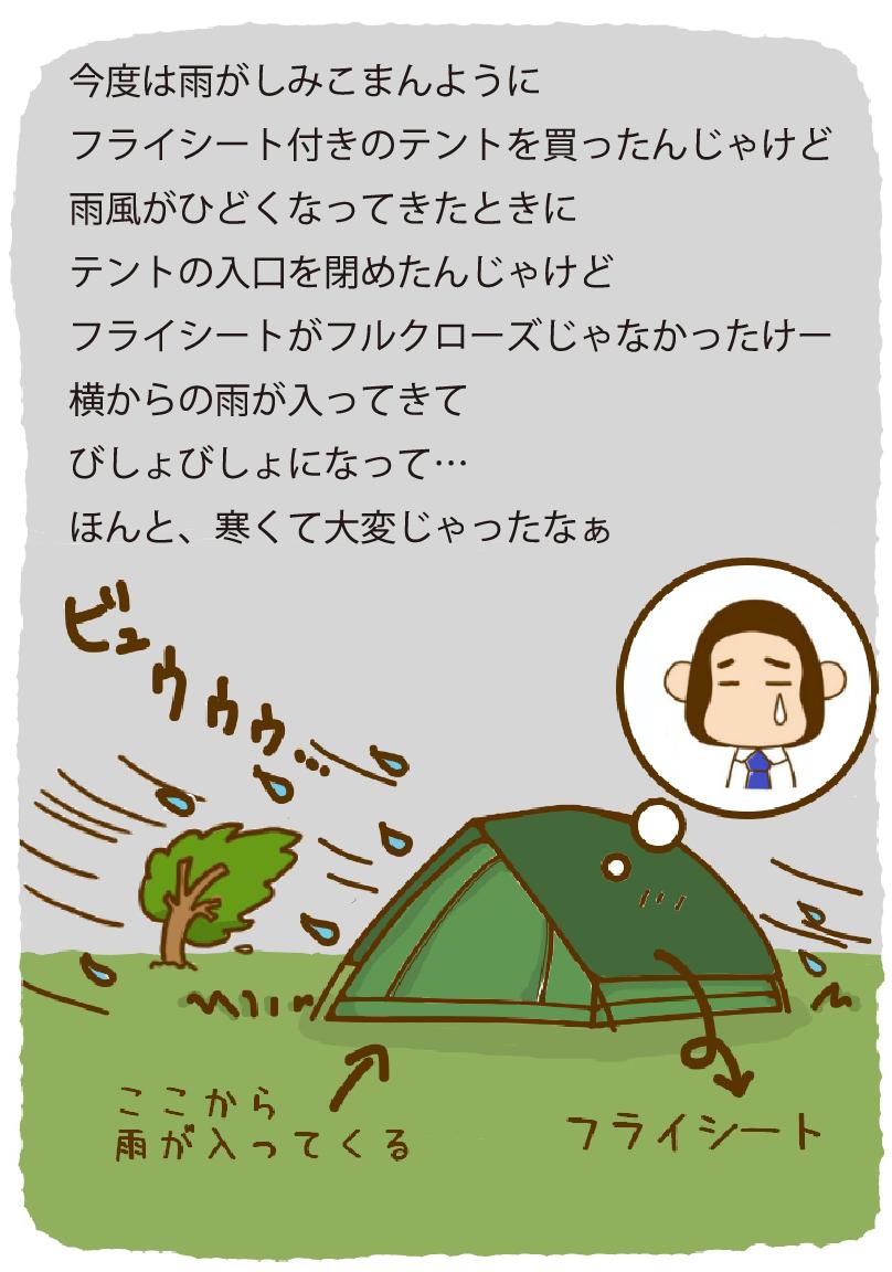 今度は雨がしみこまんように フライシート付きのテントを買ったんじゃけど 雨風がひどくなってきたときに テントの入口を閉めたんじゃけど フライシートがフルクローズじゃなかったけー 横からの雨が入ってきて びしょびしょになって… ほんと、寒くて大変じゃったなぁ