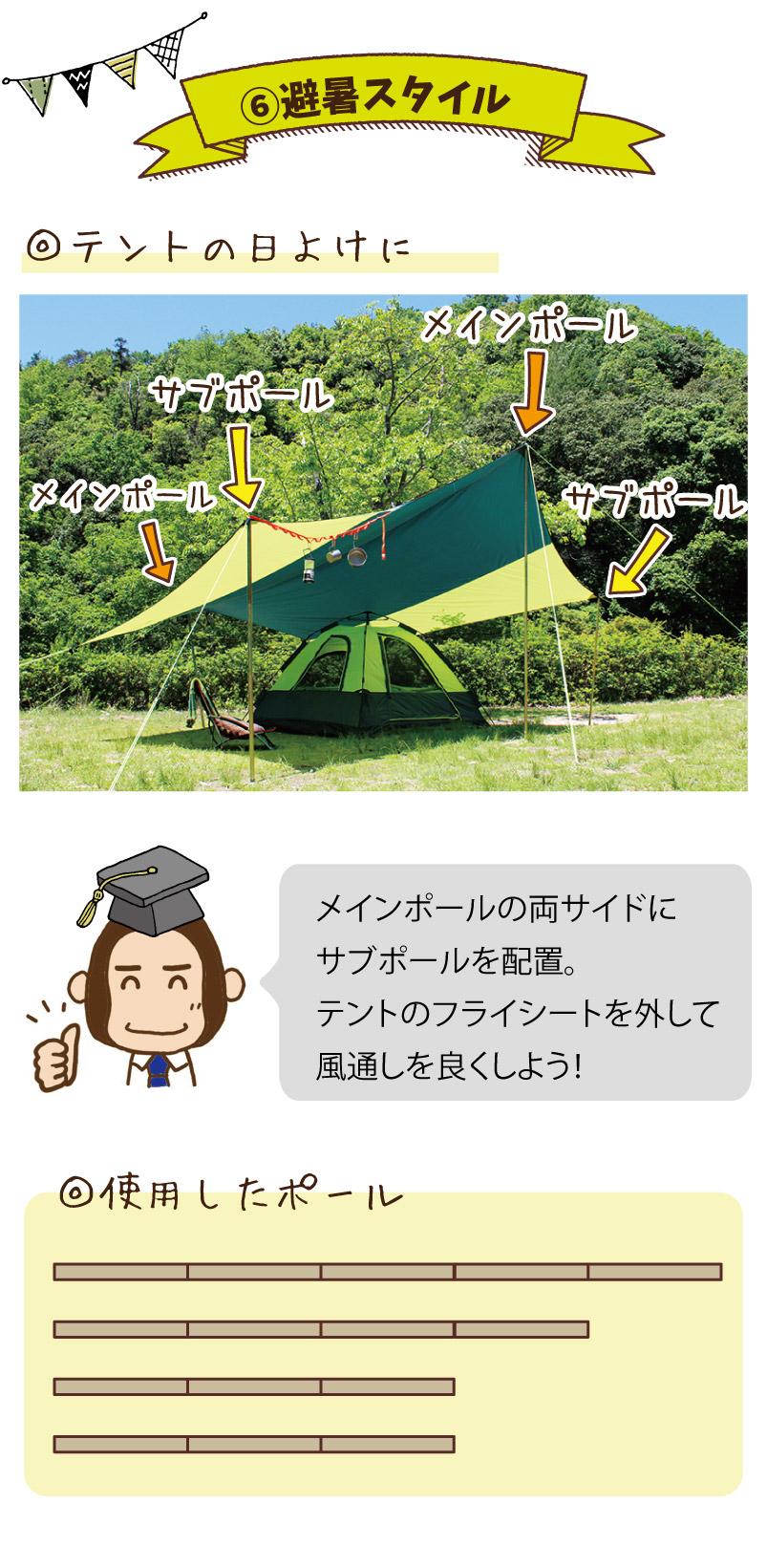 避暑スタイル|テントの日よけに。メインポールの両サイドにサブポールを配置。テントフライシートを外して風通しを良くしよう!