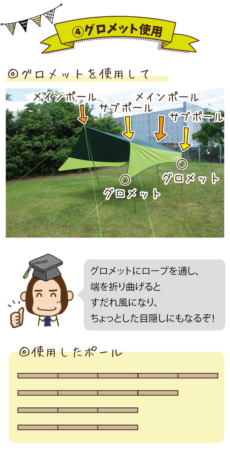 グロメット使用|グロメットを使用して。グロメットにロープを通し、端を折り曲げるとすだれ風ふうになり、ちょっとした目隠しにもなるぞ!