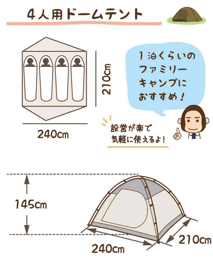 4人用ドームテント|一泊くらいのファミリーキャンプにおすすめ!