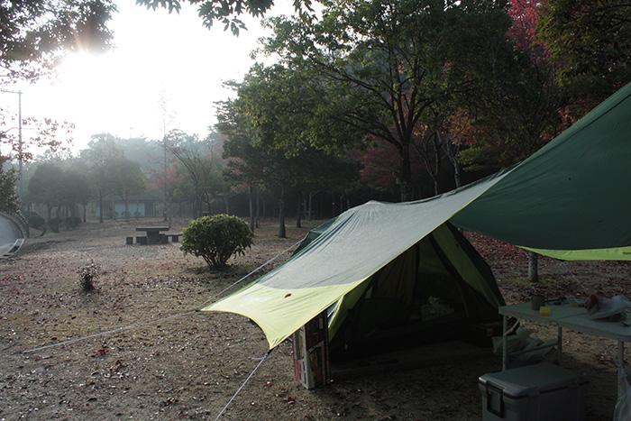 朝のテントとタープ