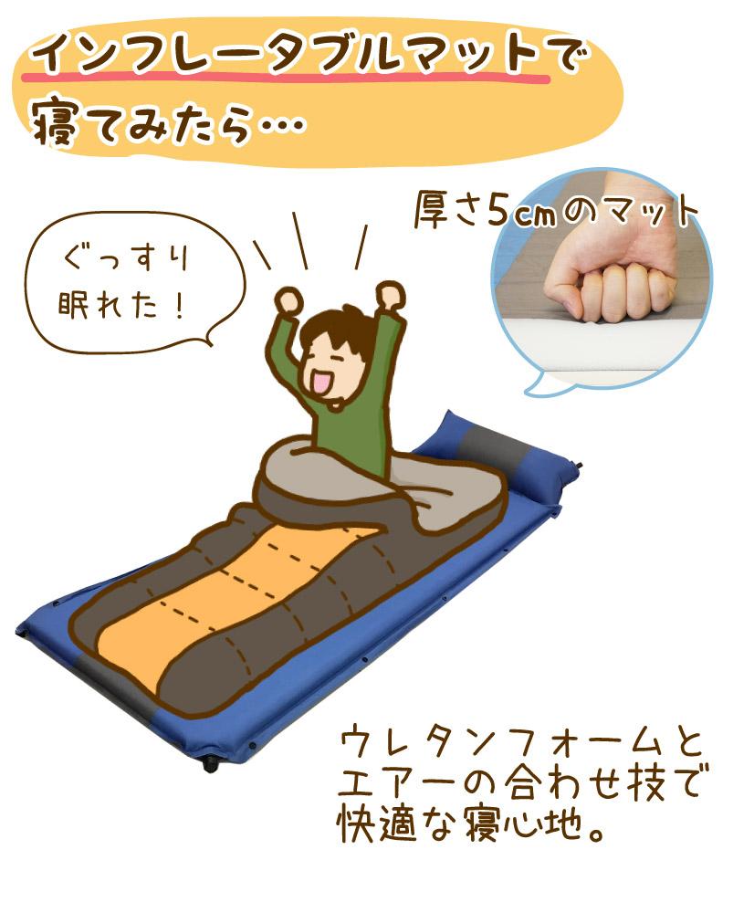 インフレータブルマットで寝てみたら…厚さ5cmのマットでぐっすり眠れた!ウレタンフォームとエアーの合わせ技で快適な寝心地。