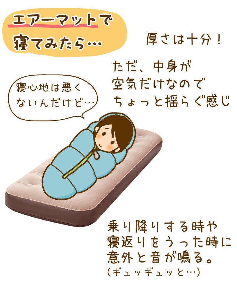エアーマットで寝てみたら…厚さは十分!ただ中身が空気だけんなのでちょっと揺らぐ感じ。寝心地は悪くないのだけど。。乗り降りする時や寝返りをうった時に意外と音が鳴る。(ギュッギュッと…)
