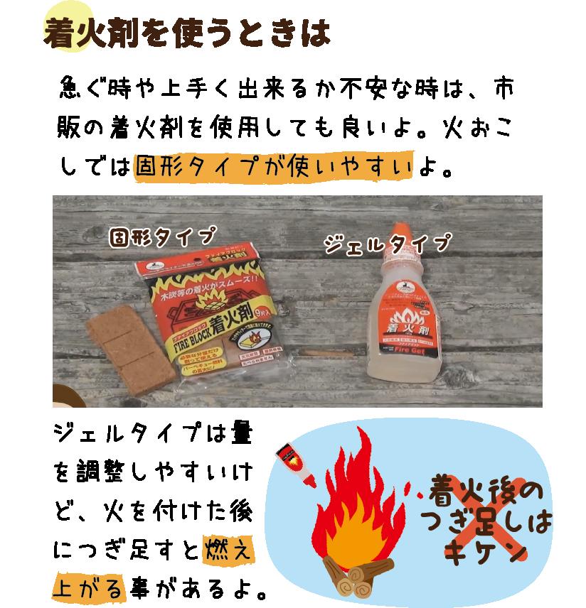 着火剤を使うときは|急ぐ時や上手く出来るか不安な時は、市販の着火剤を使用しても良いよ。火おこしでは固形タイプが使いやすいよ。|ジェルタイプは量を調整しやすいけど、火を付けた後につぎ足すと燃え上がる事があるよ。
