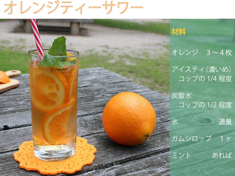 材料:オレンジ 3~4枚、アイスティ(濃いめ) コップの1/4程度、炭酸水 コップの1/2程度、氷 適量、ガムシロップ 1ヶ、ミント あれば