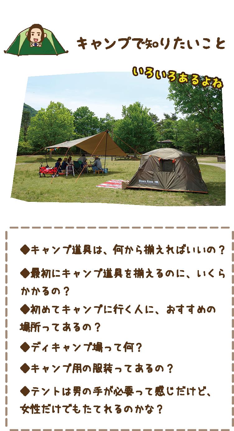 キャンプで知りたいこと|キャンプ道具は、何から揃えればいいの? 最初に道具を揃えるのに、いくらかかるの? 初めてのキャンプに行く人に、おすすめの場所ってあるの? デイキャンプ場って何? キャンプ用の服装ってあるの? テントは男手が必要って感じだけど、女性だけでもたてれるのかな?