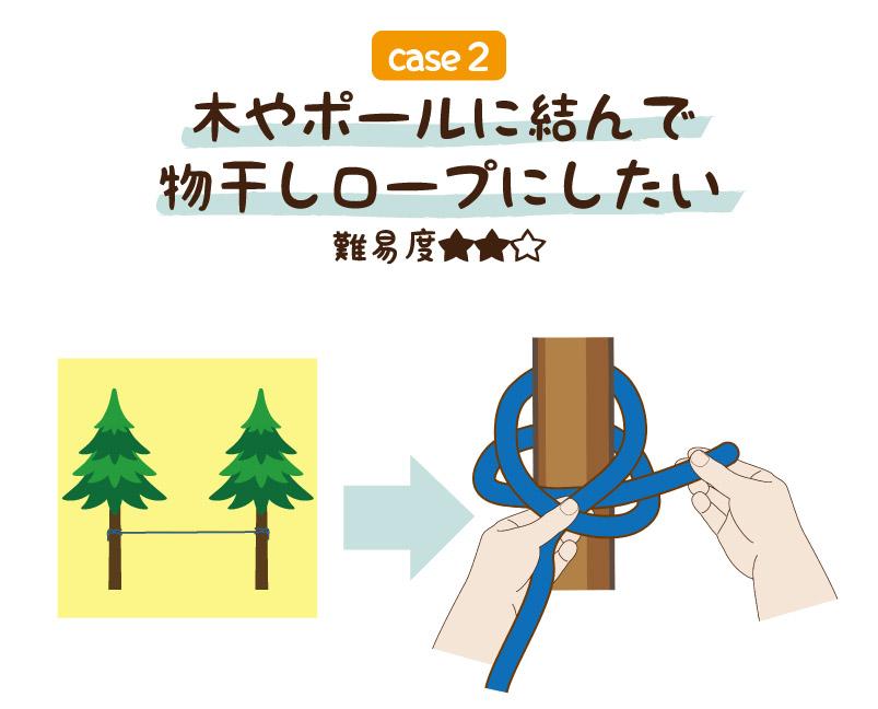 木やポールに結んで物干しロープにしたい