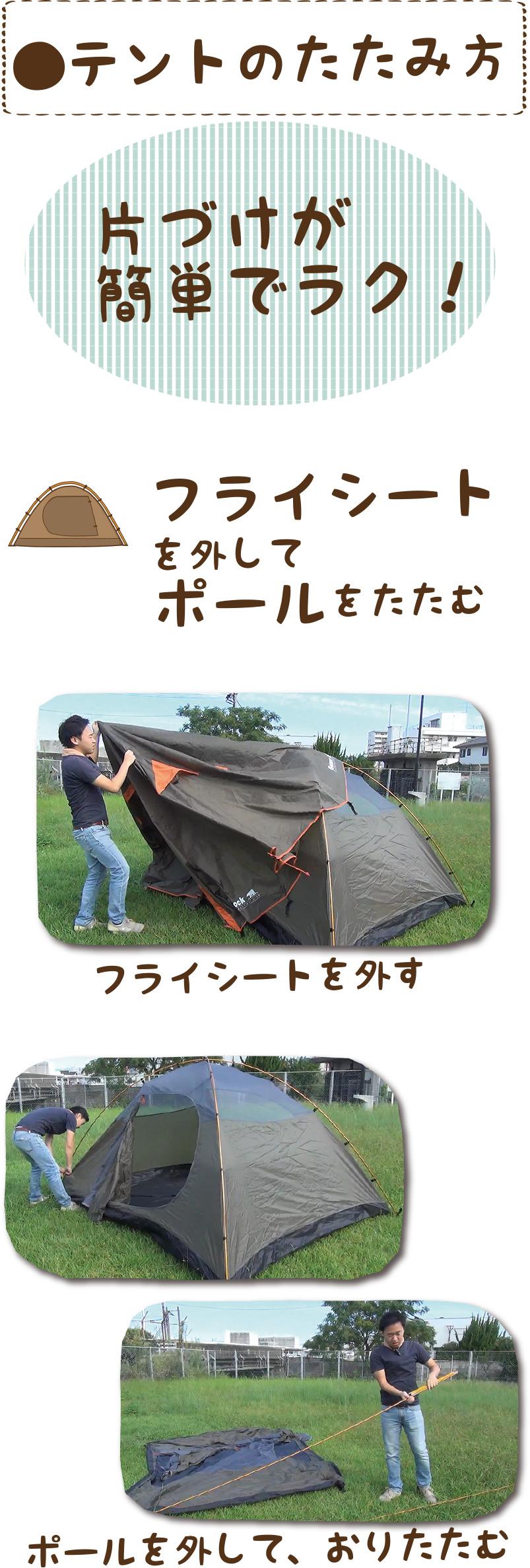 ●テントのたたみ方|フライシート を外してポールをたたむ