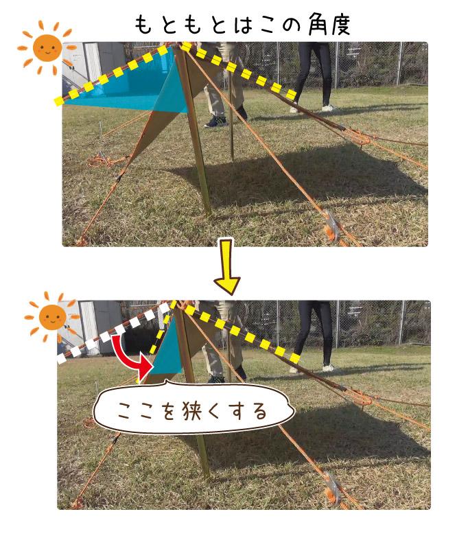 タープの角度を変えて影を広げる様子