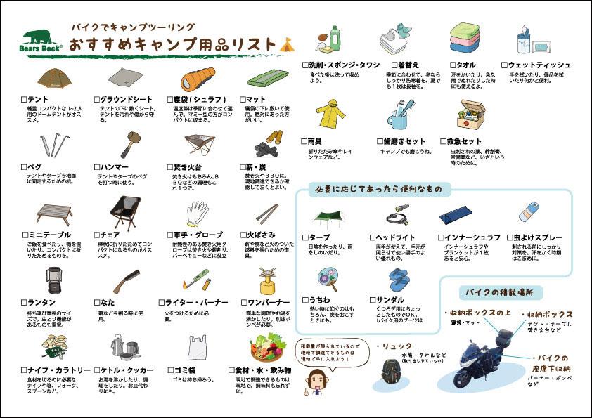 キャンプツーリング用品リスト