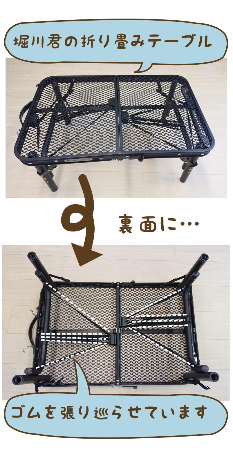 堀川くんの折り畳みテーブルの写真(裏面にゴムが張ってあります)