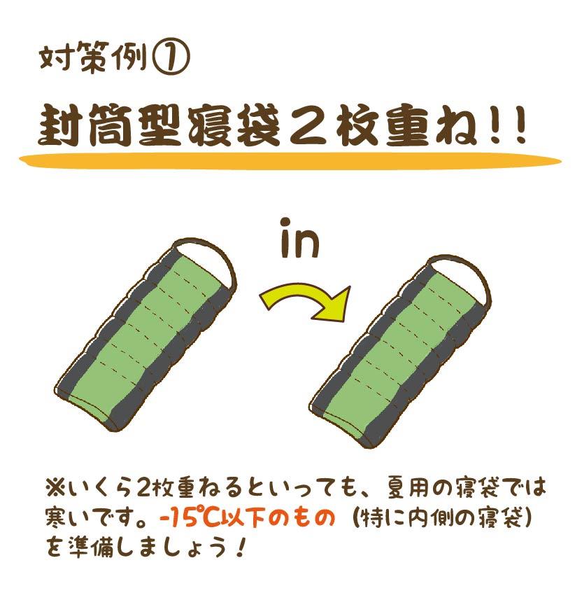 対策例① 封筒型寝袋を2枚重ねる