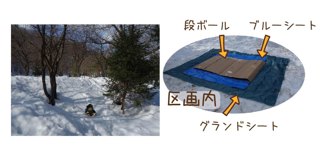 一面の雪景色の写真と除雪済の区画内を写した写真