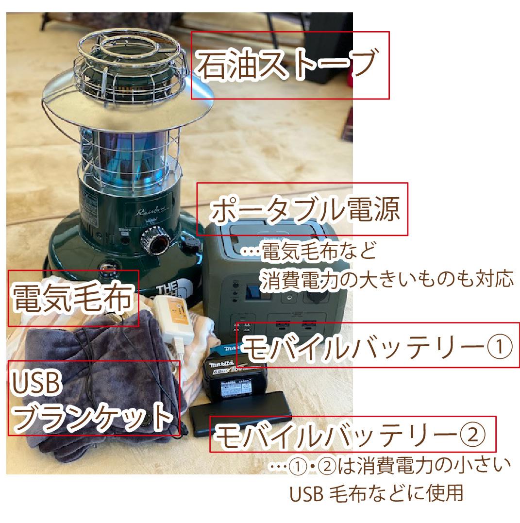 電源の無いサイトに持っていきたい暖房器具一式の写真