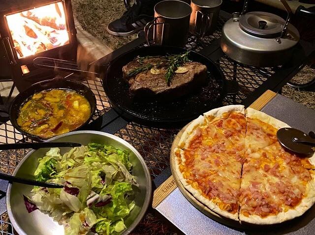 【冬キャンプ】薪ストーブで調理