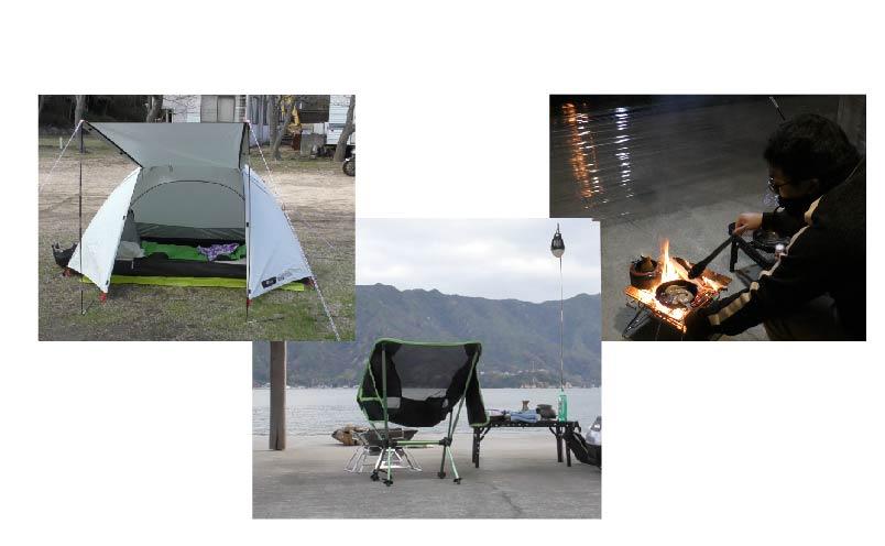 テント・テーブルとイス・焚火台の写真
