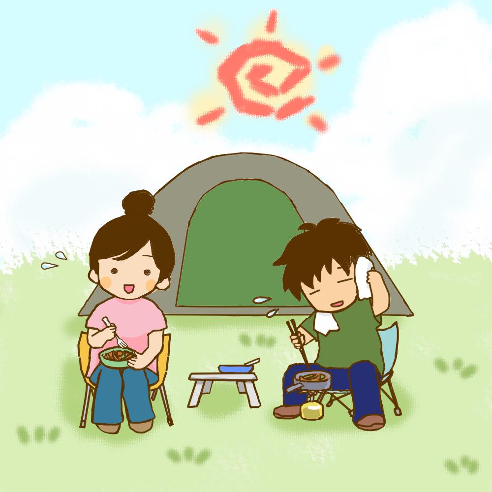 挿絵①炎天下での調理と食事