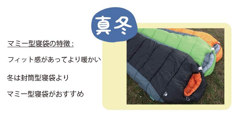 真冬に使うマミー型寝袋の写真