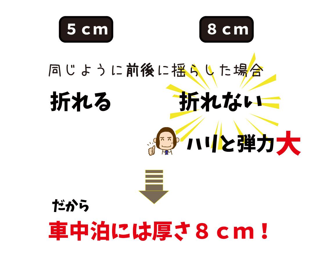 5cmのマットと87cmのマットを揺らして針と弾力の差をチェックしている所の写真