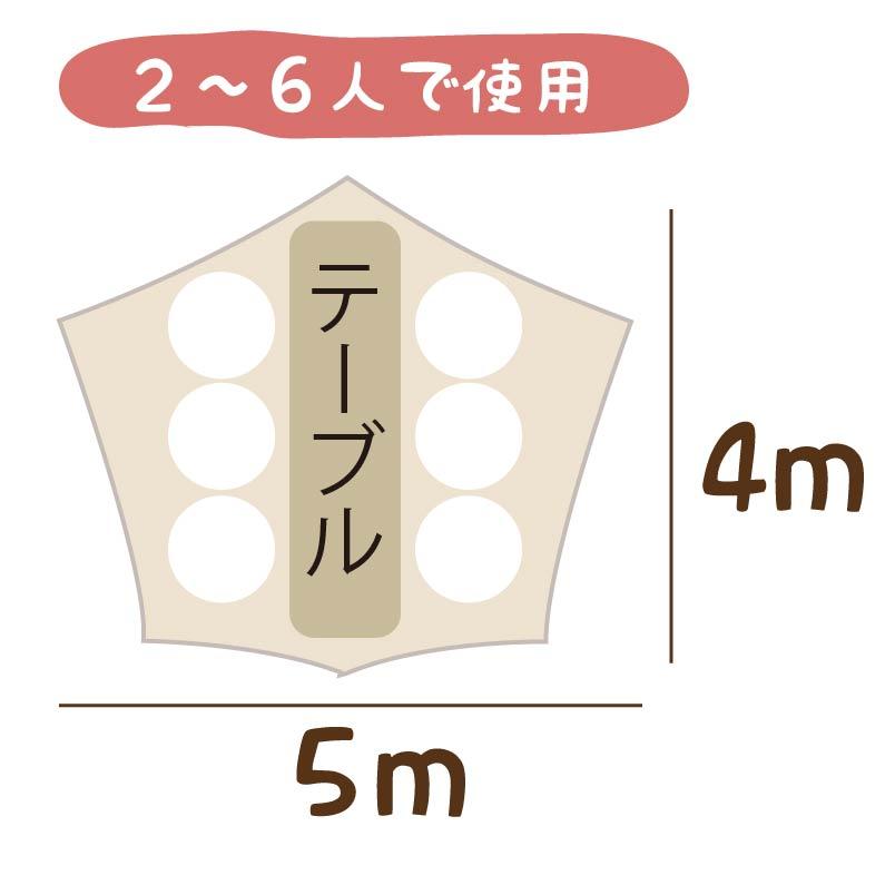 2~6人で使用する時のおすすめは4m×5m