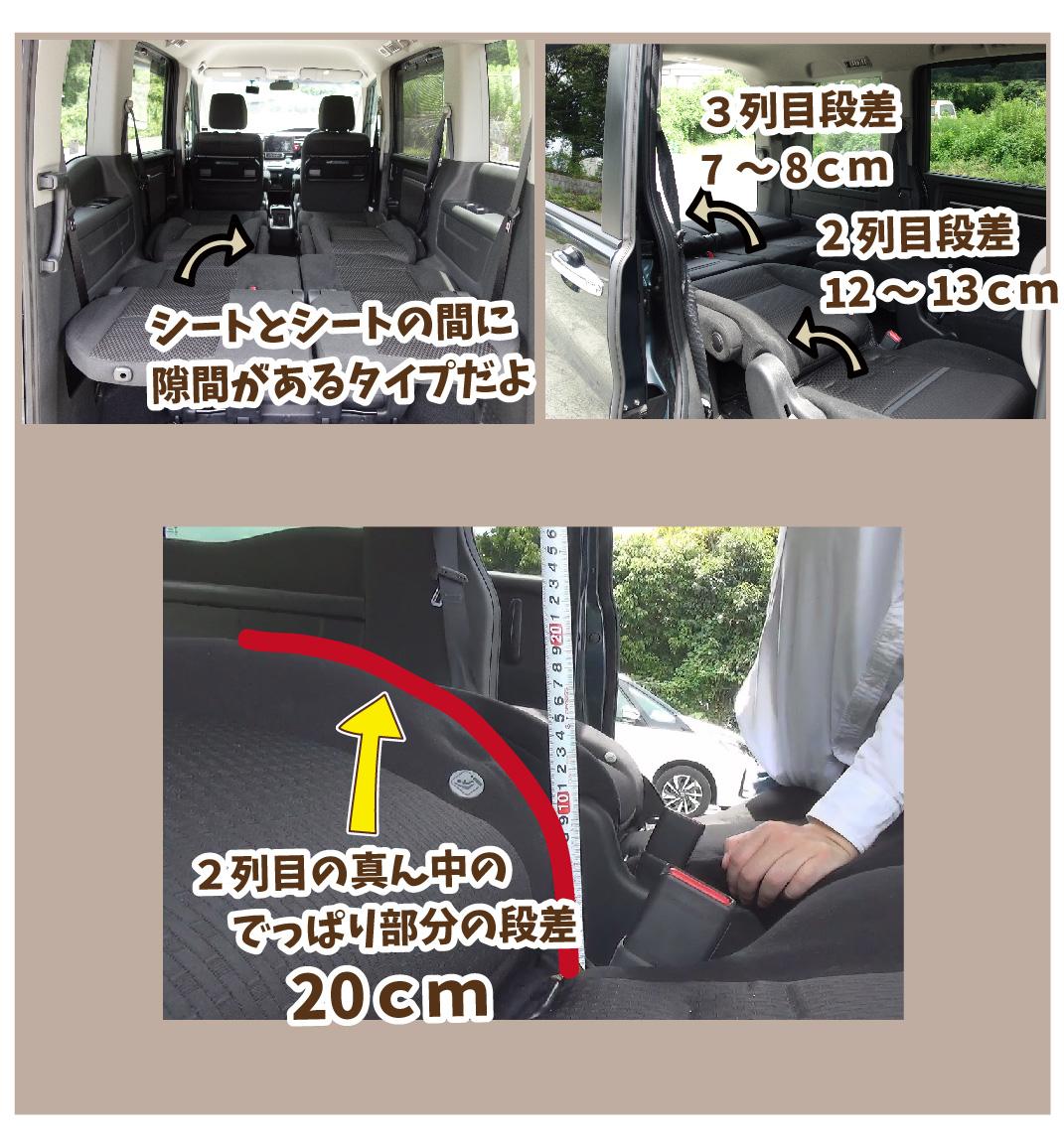 後部座席を倒した時の車内の写真