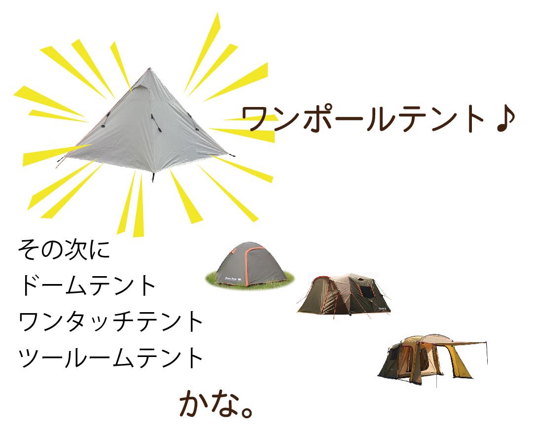 ワンポールテント、ドームテント、ワンタッチテント、ツールームテントの順に設営しやすい