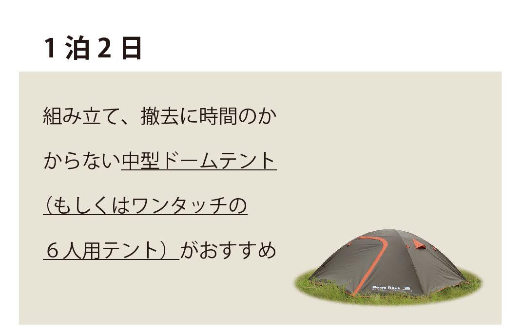 1泊2日にワンタッチの6人用テントがおすすめ