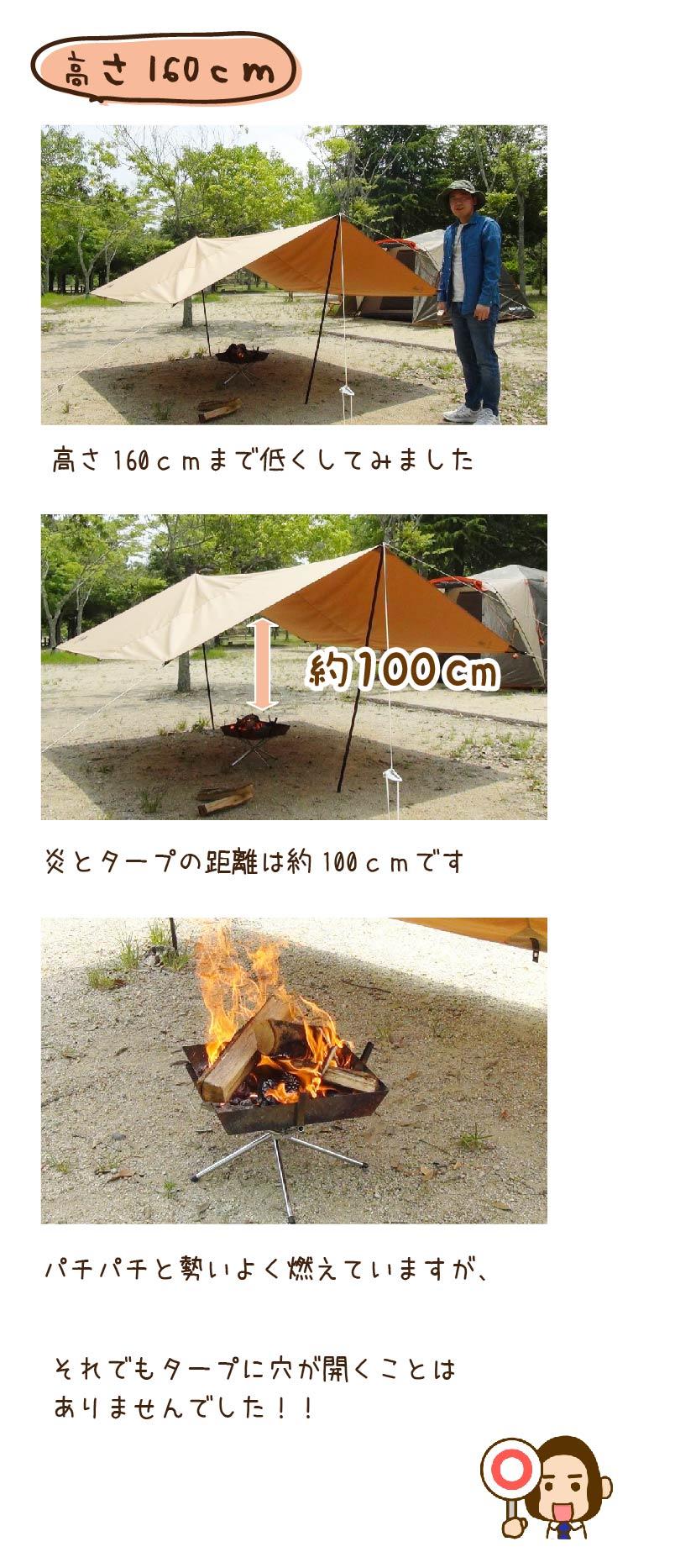 高さが160cmのタープの下での焚火の様子